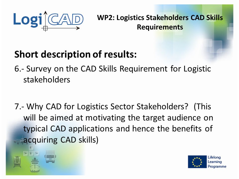 WP2: Logistics Stakeholders CAD Skills Requirements