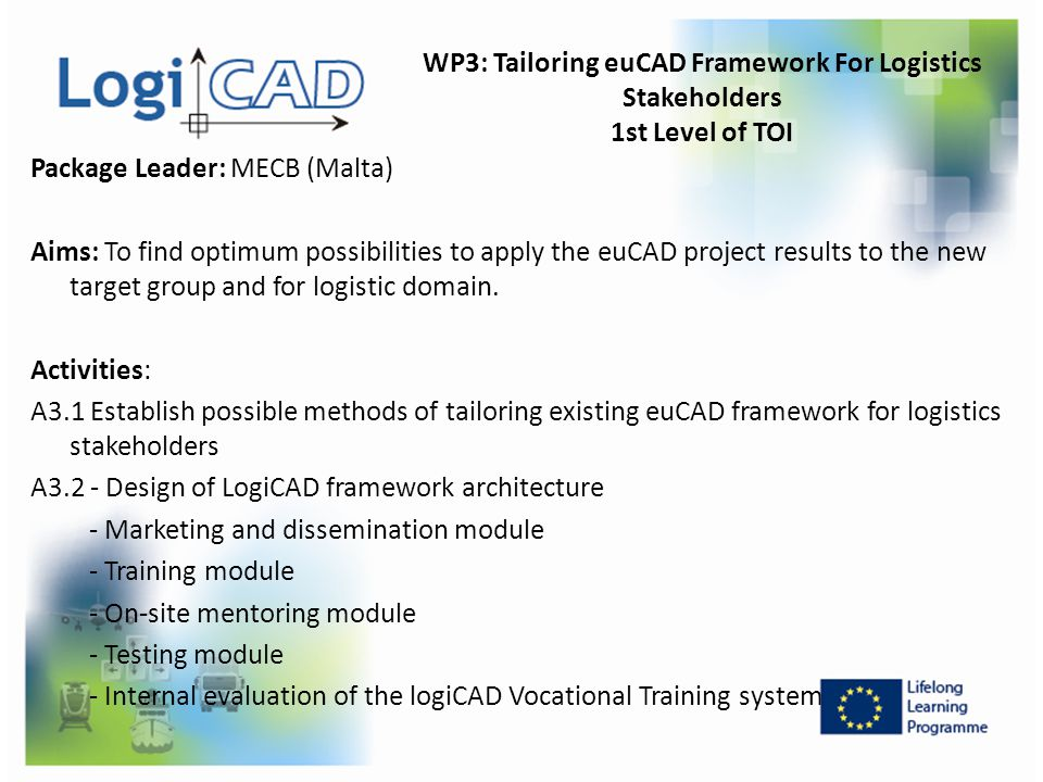 WP3: Tailoring euCAD Framework For Logistics Stakeholders 1st Level of TOI