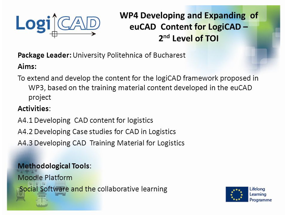 WP4 Developing and Expanding of euCAD Content for LogiCAD – 2nd Level of TOI