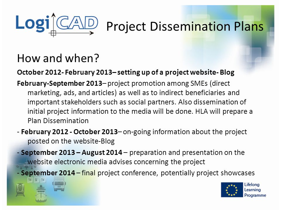 Project Dissemination Plans