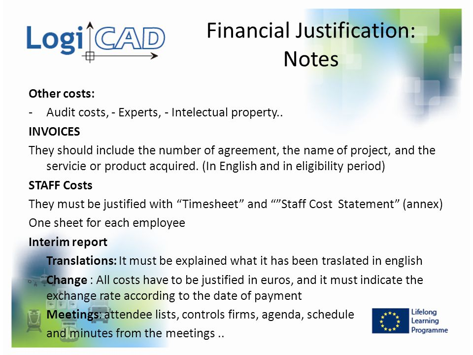 Financial Justification: Notes