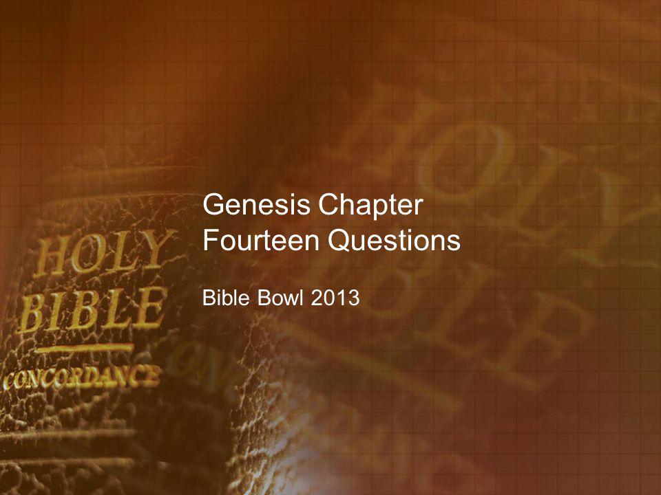 Genesis Chapter Fourteen Questions