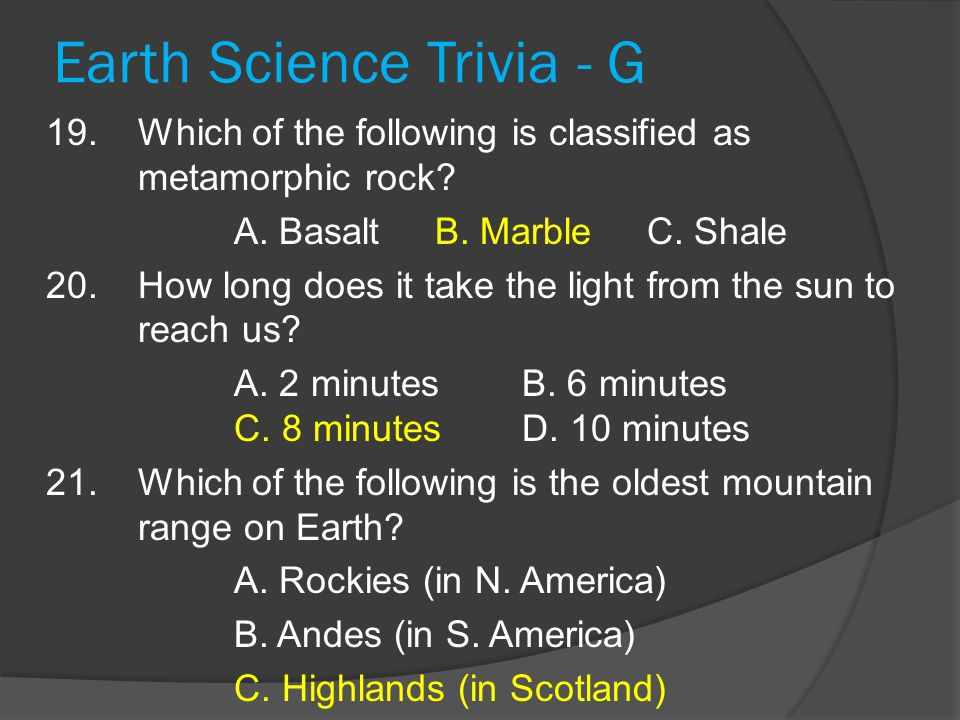 Earth Science Trivia - G