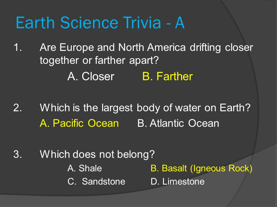 Earth Science Trivia - A