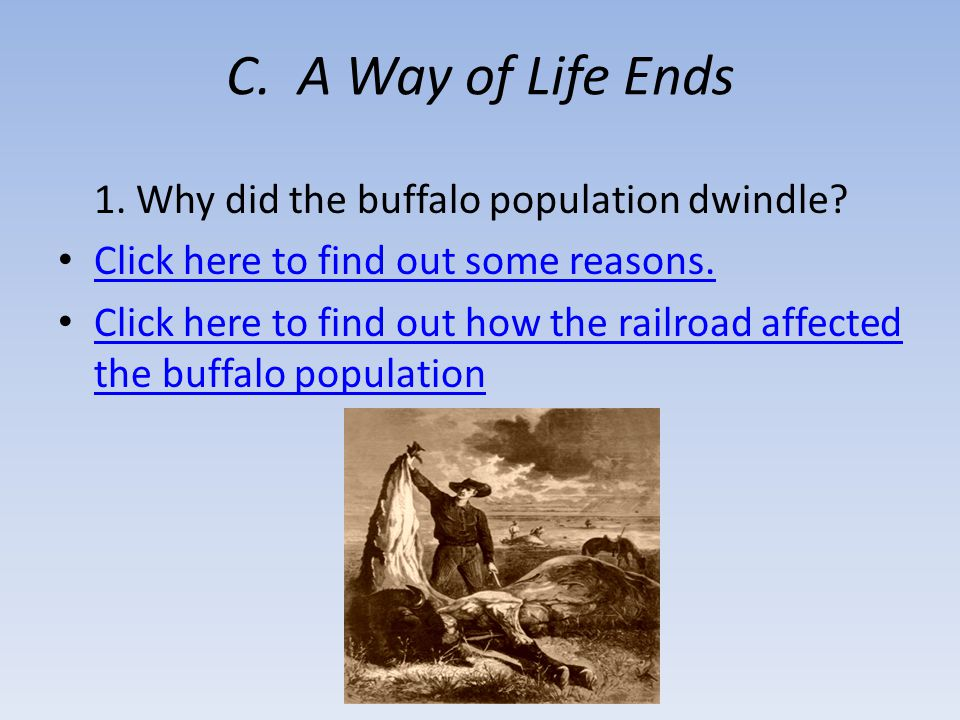 C. A Way of Life Ends 1. Why did the buffalo population dwindle