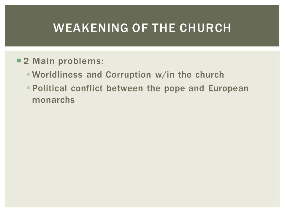 Weakening of the Church