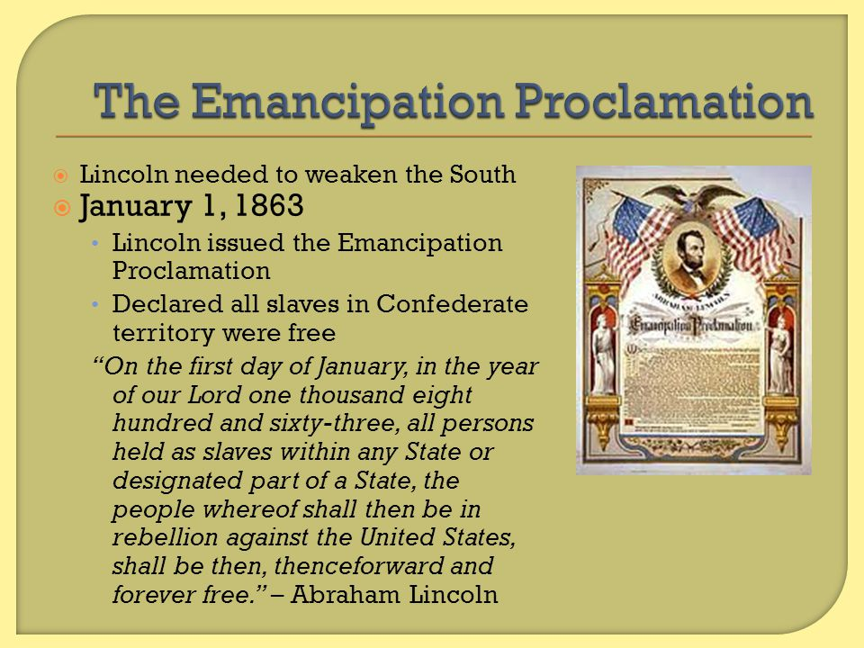lincoln s goals of preserving the union and freeing the slaves dbq By this time lincoln had decided on an even more dramatic measure: a proclamation issued as commander-in-chief freeing all slaves in states waging war against the union.