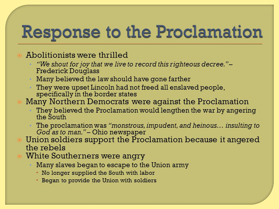 Response to the Proclamation
