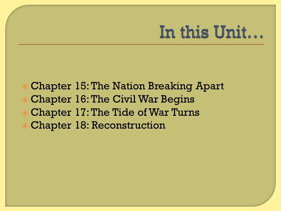 In this Unit… Chapter 15: The Nation Breaking Apart