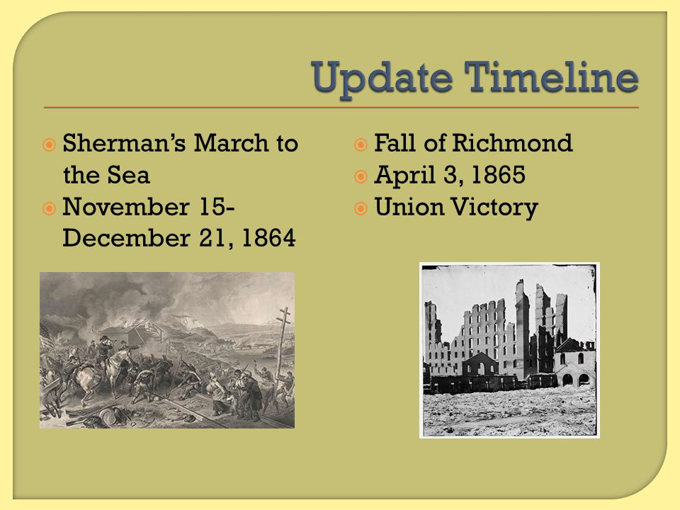 Update Timeline Sherman's March to the Sea