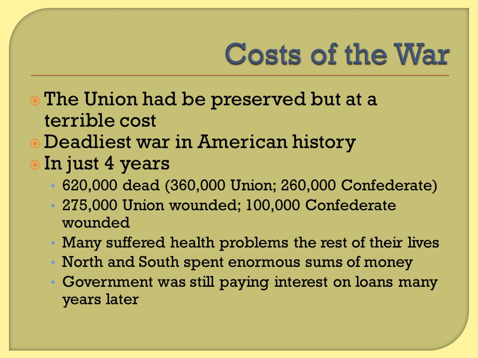 Costs of the War The Union had be preserved but at a terrible cost