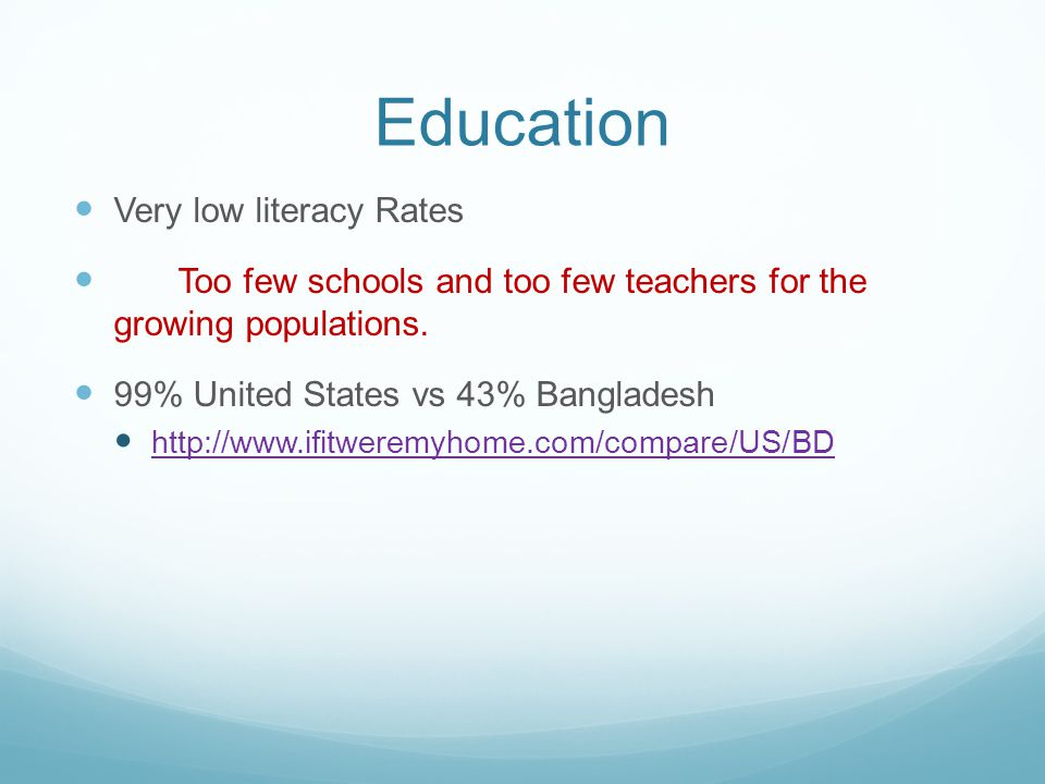 Education Very low literacy Rates