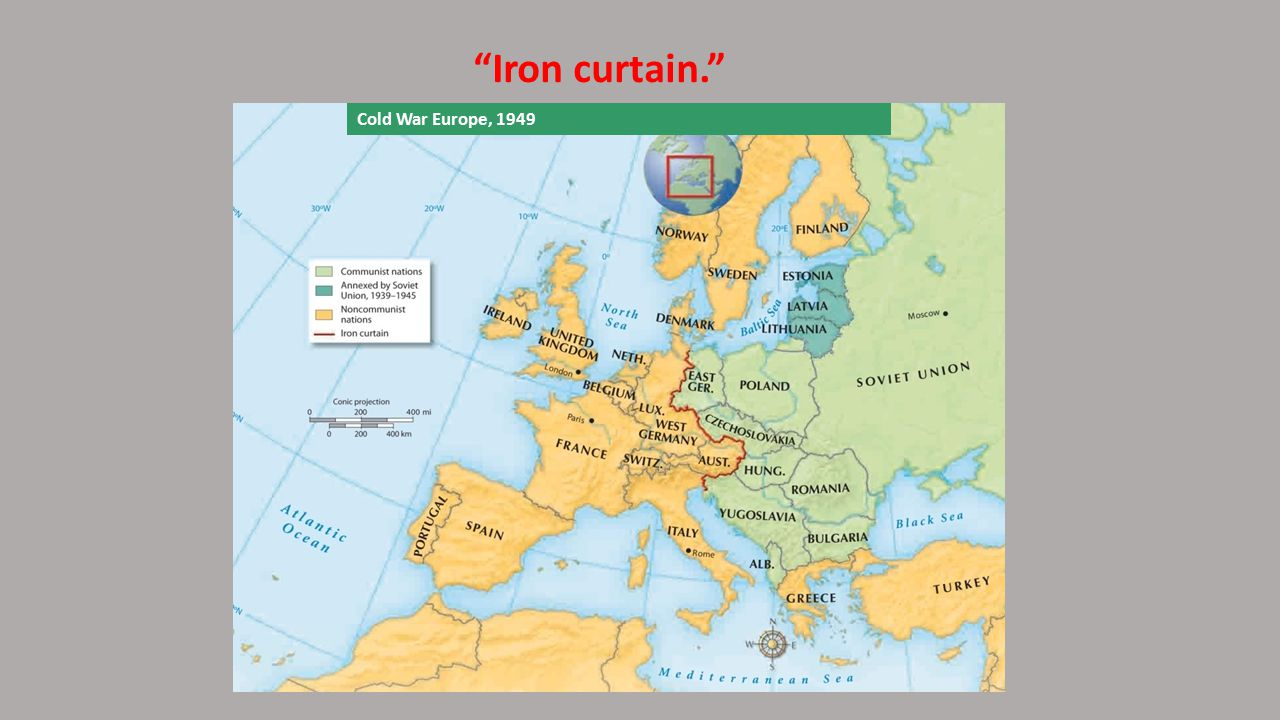 Iron curtain. Cold War Europe, 1949