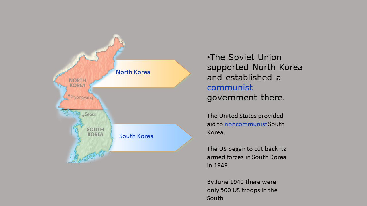 The Soviet Union supported North Korea and established a communist government there.