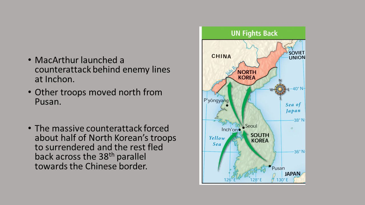 MacArthur launched a counterattack behind enemy lines at Inchon.