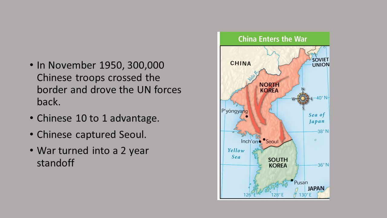 In November 1950, 300,000 Chinese troops crossed the border and drove the UN forces back.