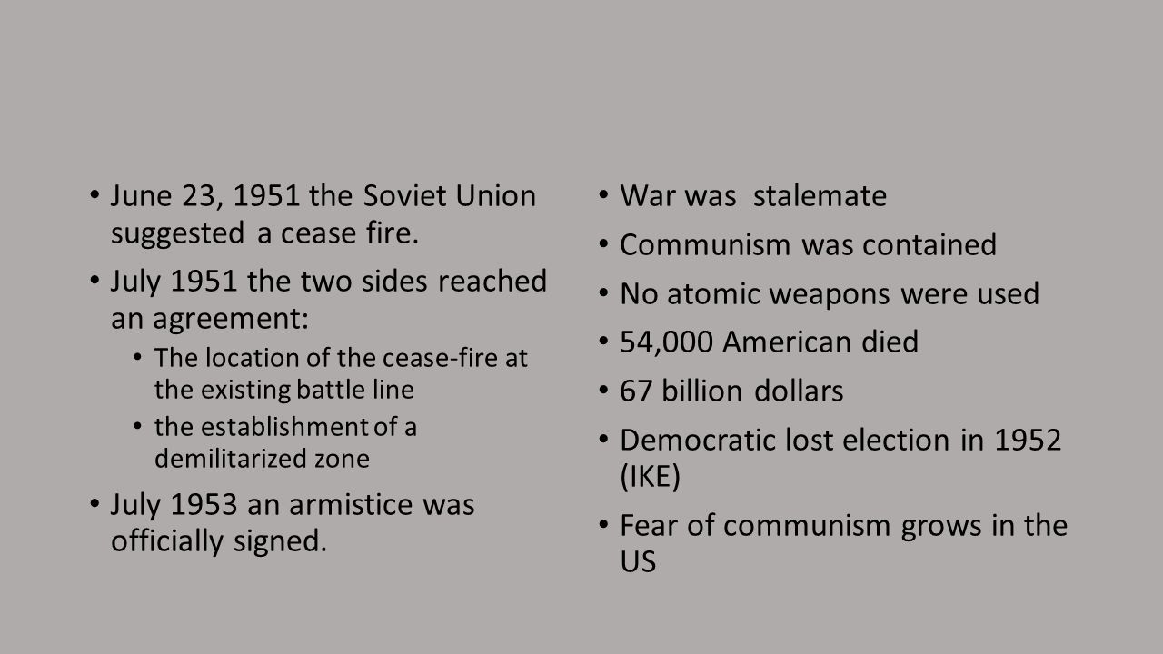 June 23, 1951 the Soviet Union suggested a cease fire.