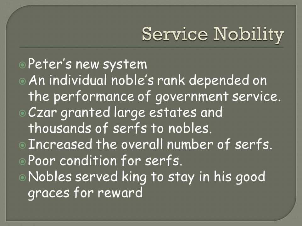 Service Nobility Peter's new system