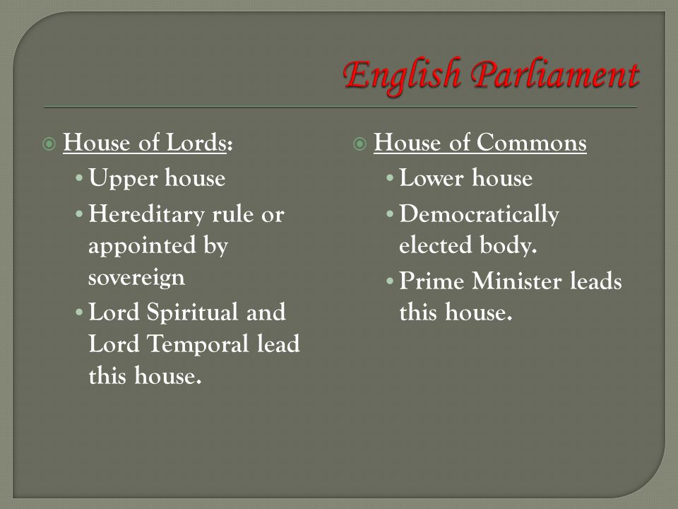 English Parliament House of Lords: Upper house