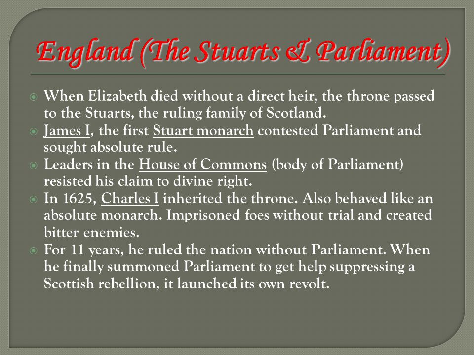 England (The Stuarts & Parliament)