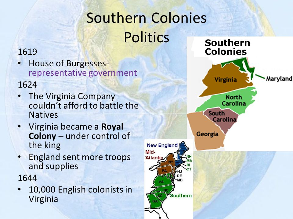 Southern Colonies Politics