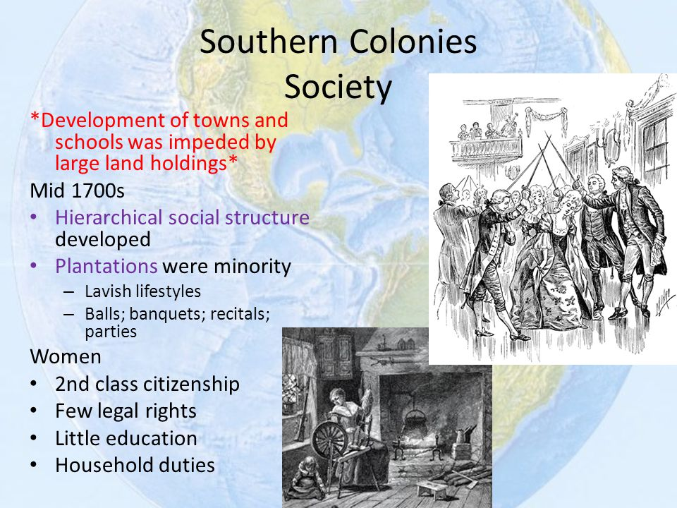 social structure developed in southern colonies The three colonial regions of early america, the new england, middle, and southern colonies, had distinctly varied characteristics and histories.