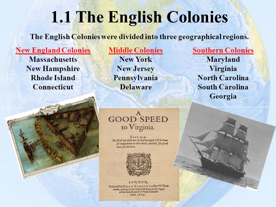 The English Colonies were divided into three geographical regions.
