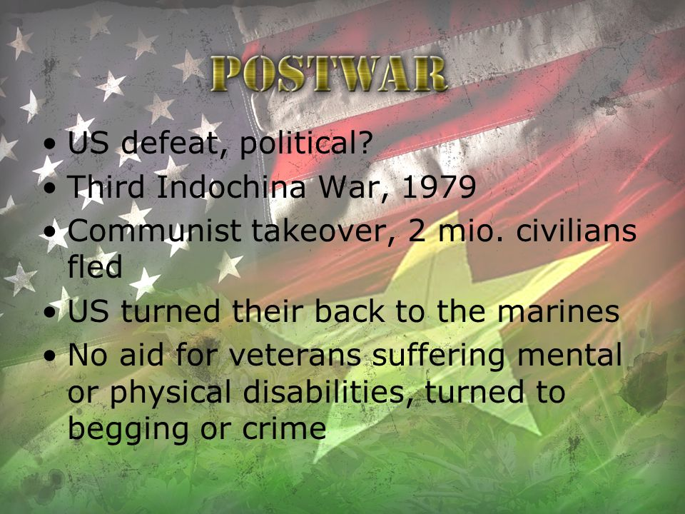 US defeat, political Third Indochina War, 1979. Communist takeover, 2 mio. civilians fled. US turned their back to the marines.