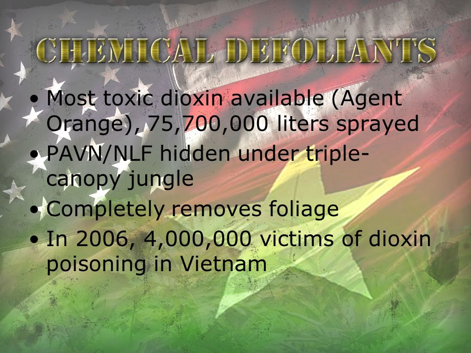 Most toxic dioxin available (Agent Orange), 75,700,000 liters sprayed