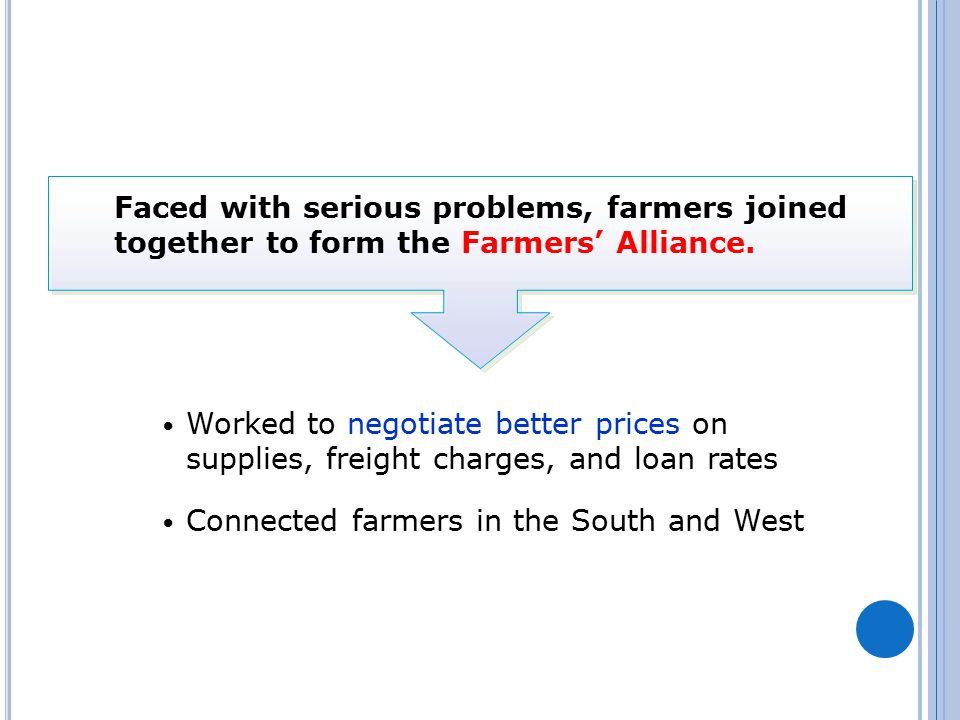 Faced with serious problems, farmers joined together to form the Farmers' Alliance.