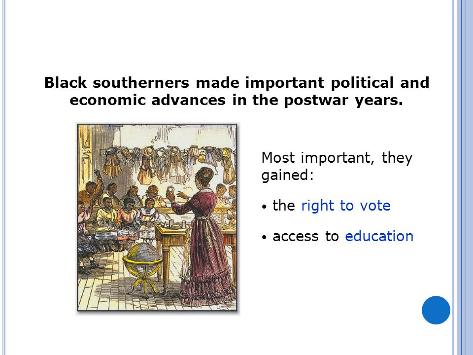 Black southerners made important political and economic advances in the postwar years.