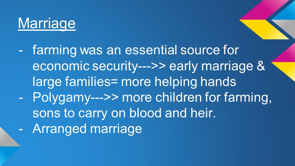 Marriage farming was an essential source for economic security--->> early marriage & large families= more helping hands.