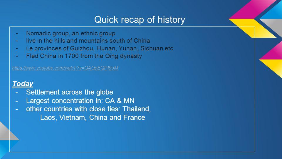 Quick recap of history Today Settlement across the globe