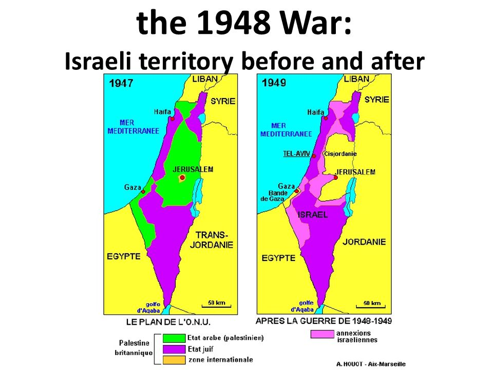 the 1948 War: Israeli territory before and after