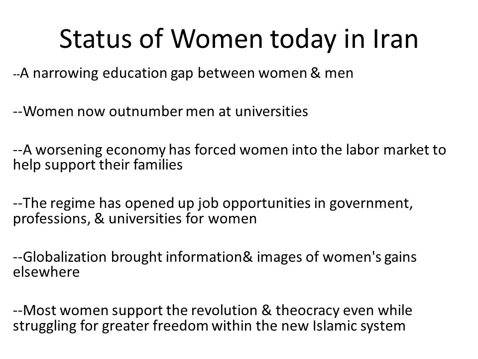 Status of Women today in Iran