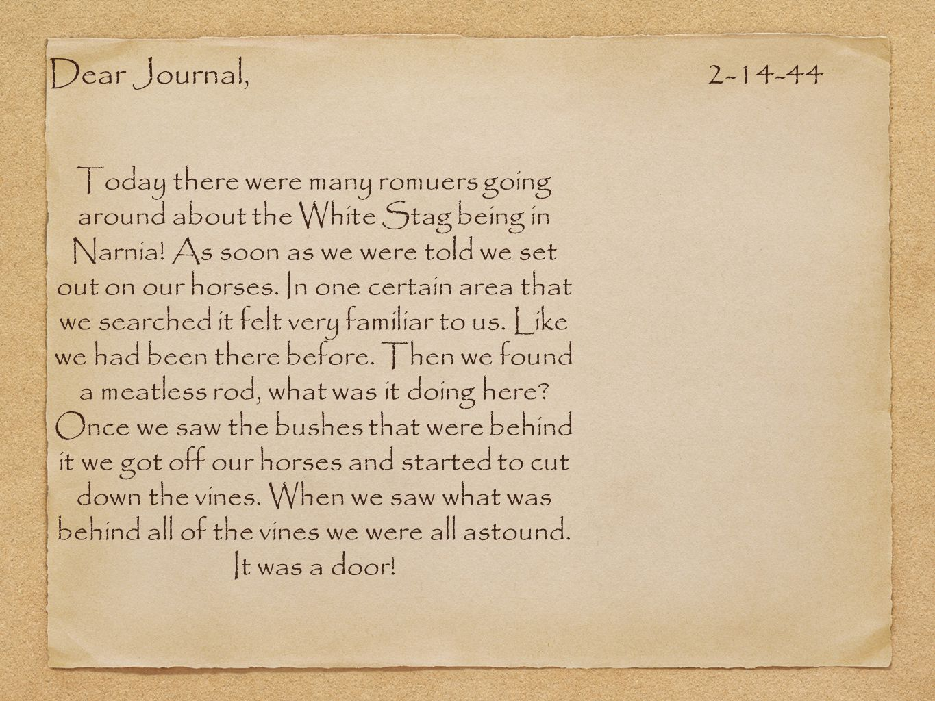 Dear Journal, 2-14-44.