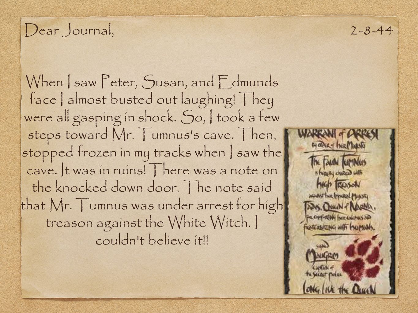 Dear Journal, 2-8-44.