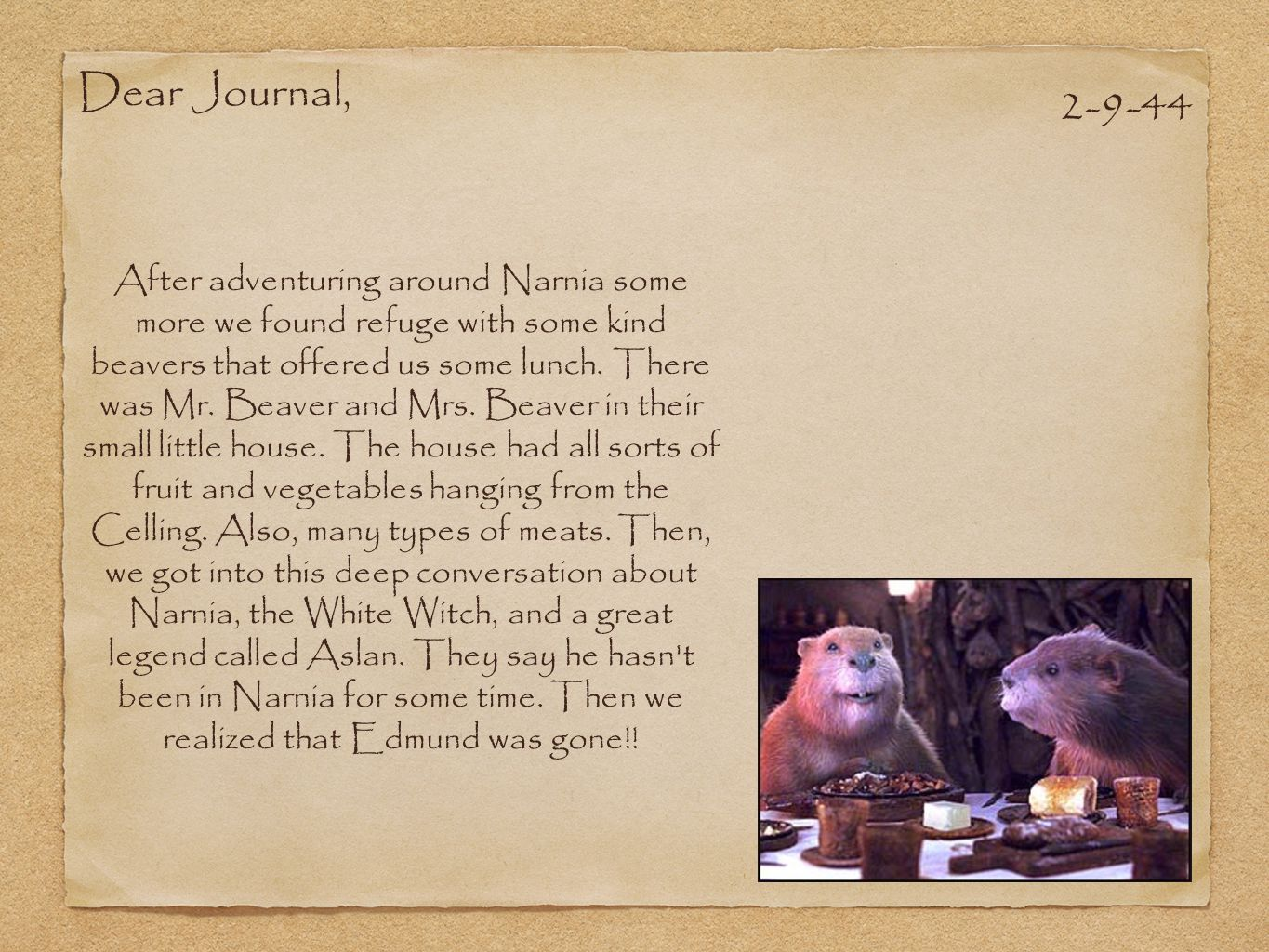 Dear Journal, 2-9-44.