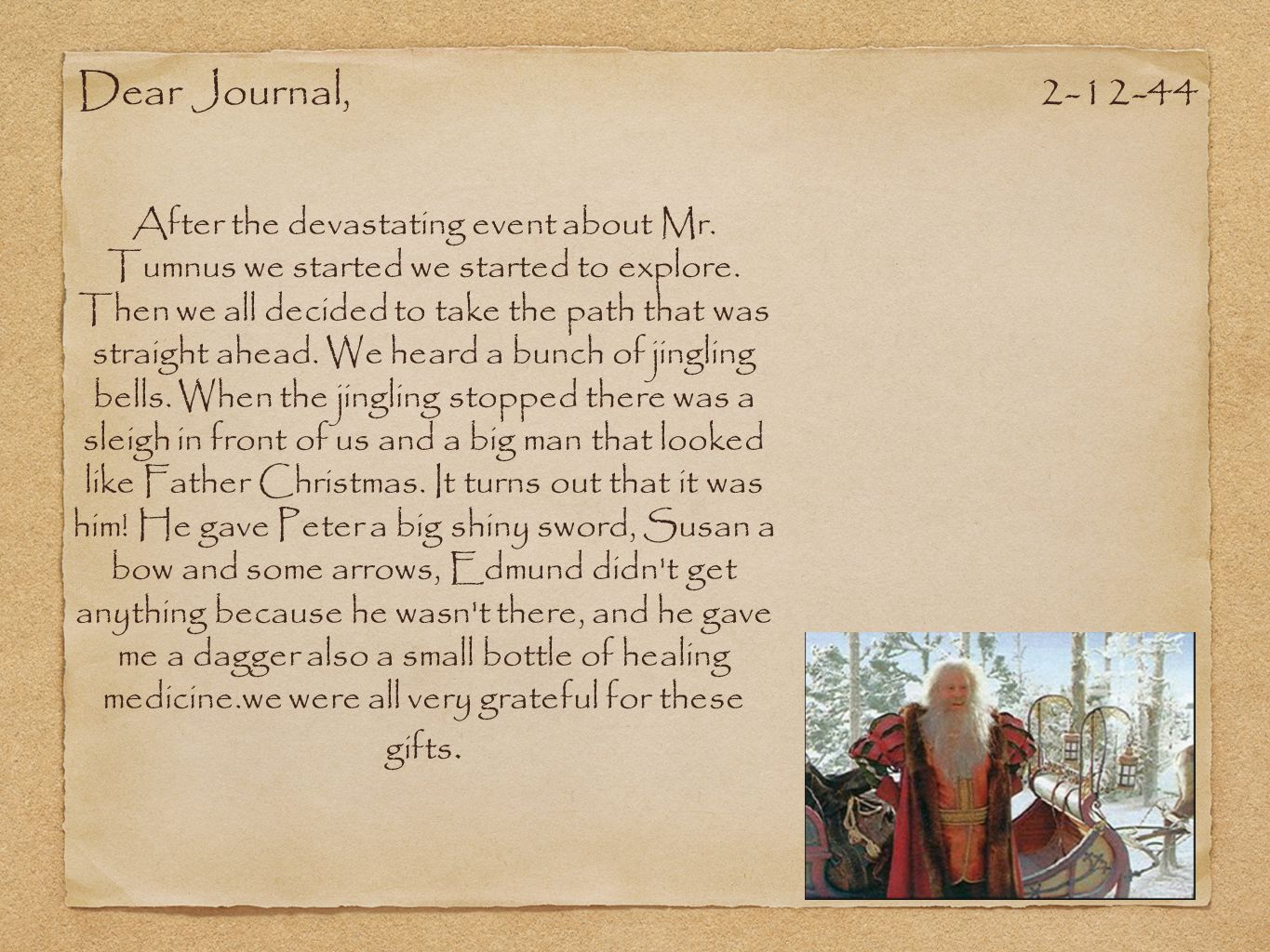 Dear Journal, 2-12-44.