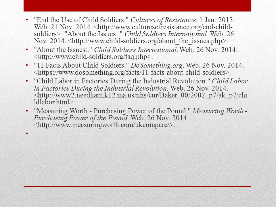 End the Use of Child Soldiers. Cultures of Resistance. 1 Jan. 2013