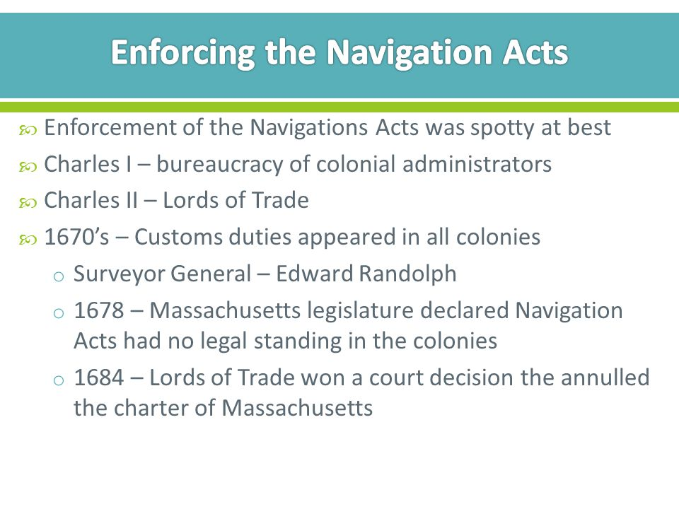 Enforcing the Navigation Acts