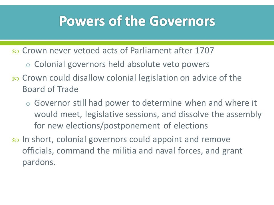 Powers of the Governors