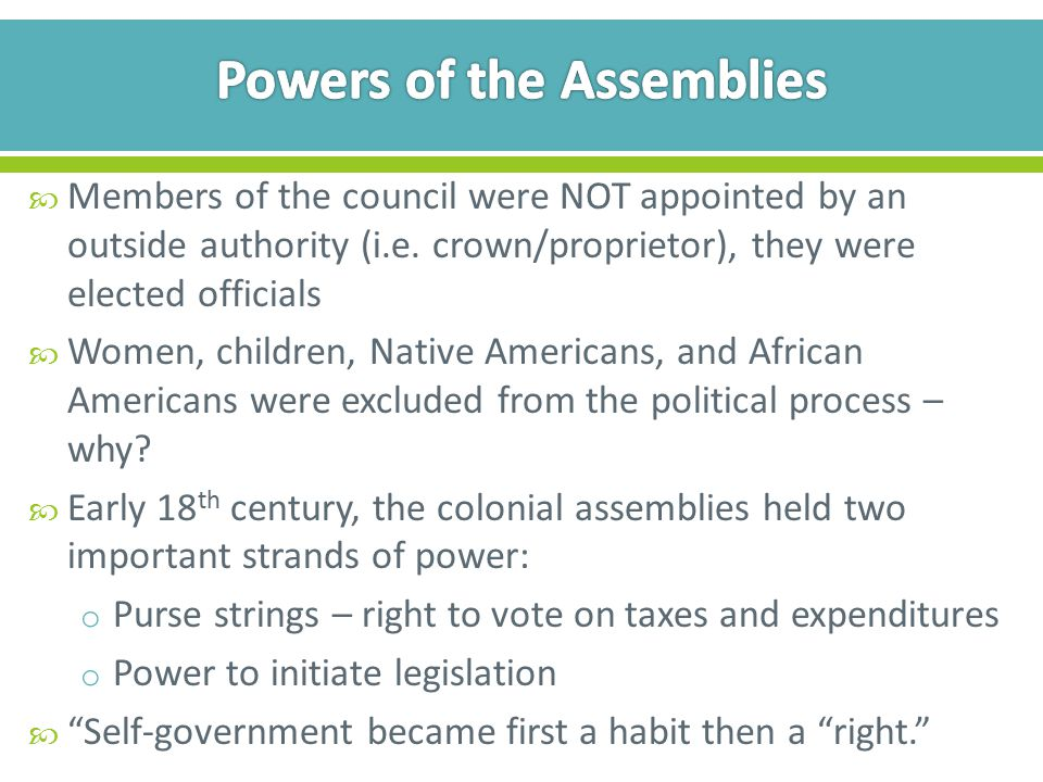Powers of the Assemblies