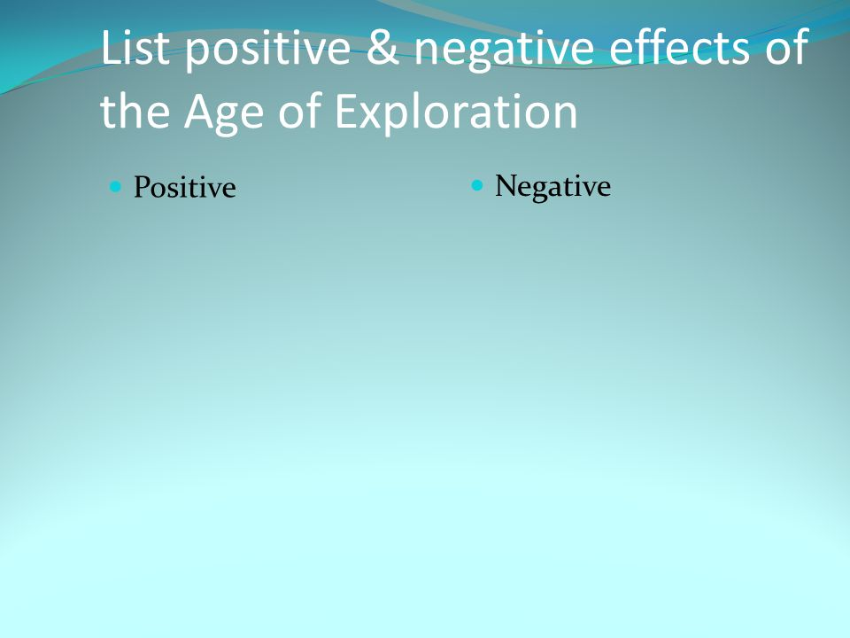 List positive & negative effects of the Age of Exploration