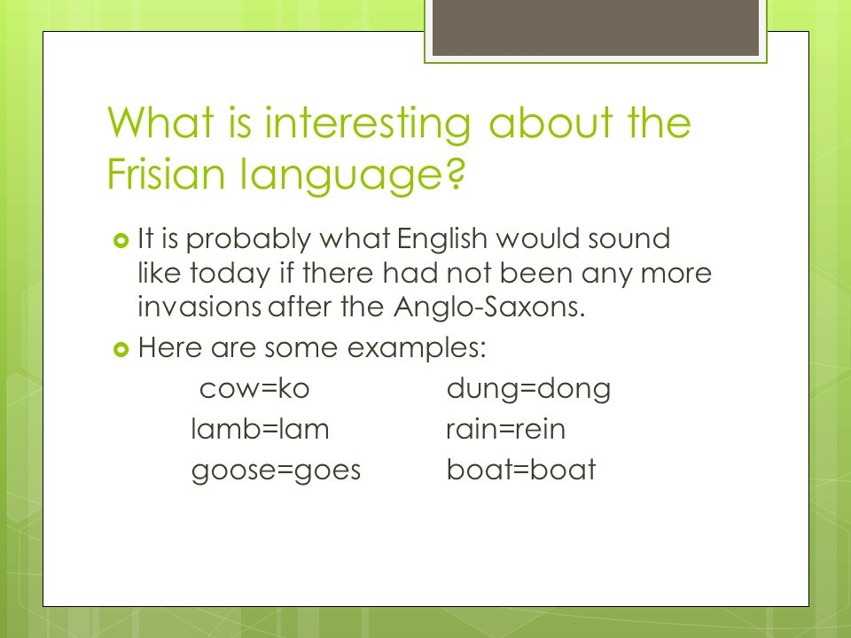 What is interesting about the Frisian language