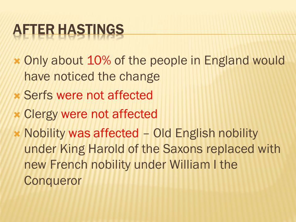 After Hastings Only about 10% of the people in England would have noticed the change. Serfs were not affected.
