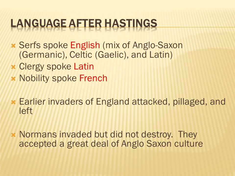 Language after Hastings