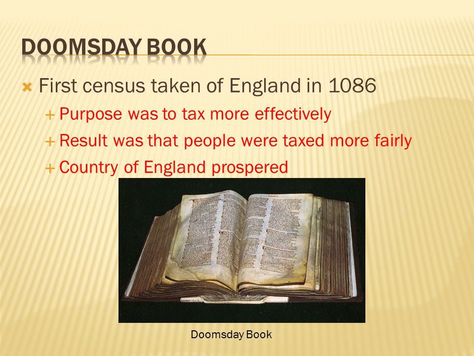 Doomsday book First census taken of England in 1086