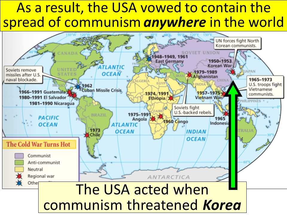 The USA acted when communism threatened Korea