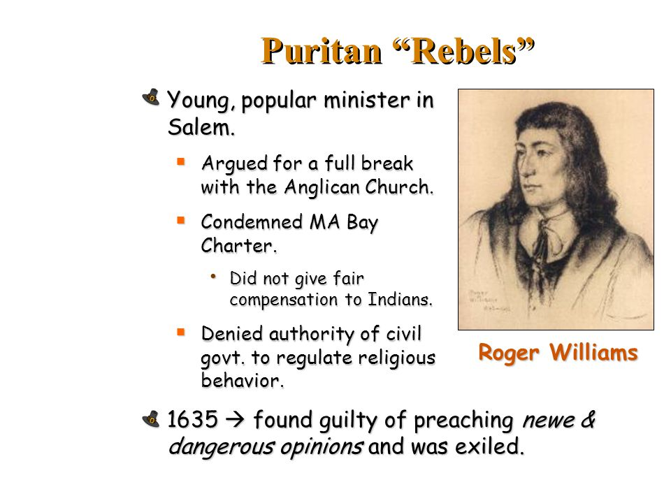 Puritan Rebels Young, popular minister in Salem.